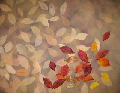 描きかけ 落ち葉の絵 の上に落ち葉