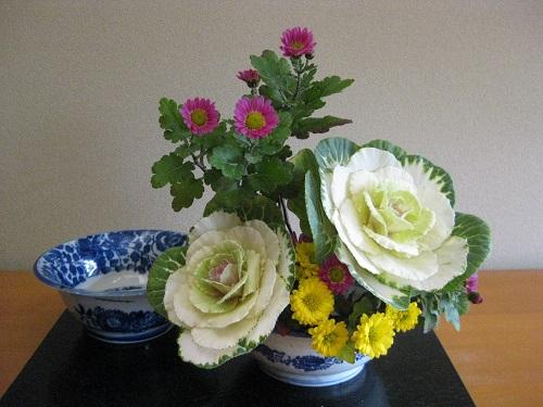 お正月の花をリメイクした生け花