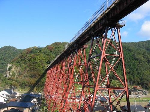 余部鉄橋と両側に民家