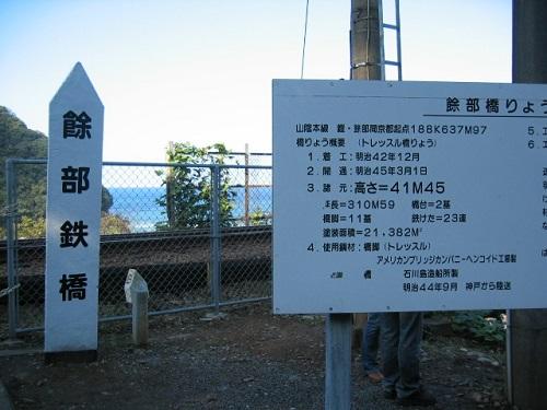 余部鉄橋の説明板