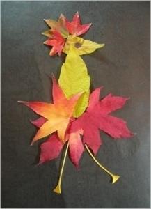 紅葉・落ち葉絵の鳥さん