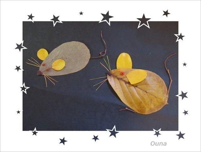 木の葉で描いたねずみ