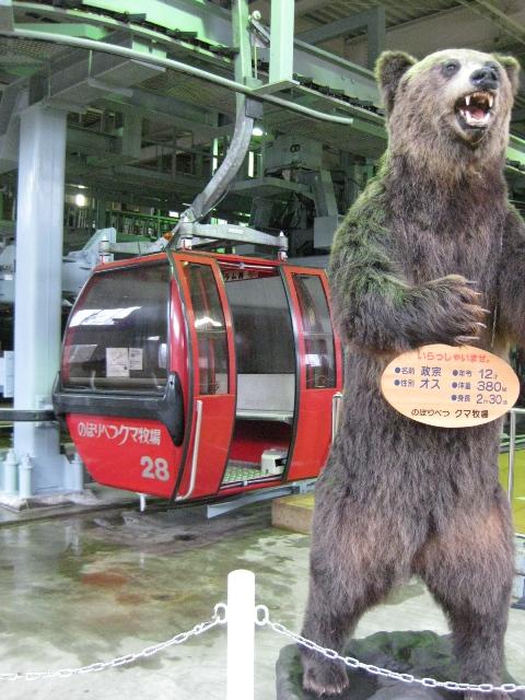ゴンドラとはく製クマ