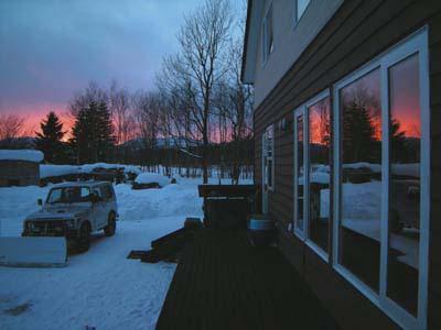 北海道の冬の夕日