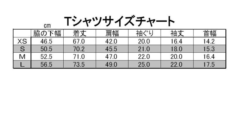 Tシャツサイズチャート表
