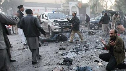 テロが起きた現場。パキスタン・首都イスラマバード近郊のラワルピンディ