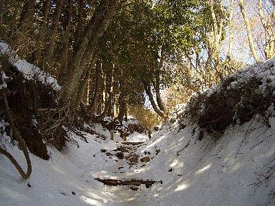登山道には雪が溶け残り危険だった