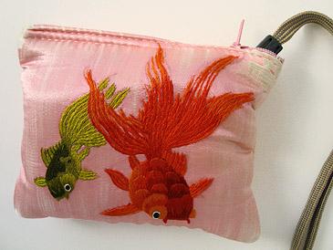 中国刺繍サテンポーチ(S)