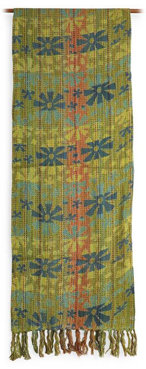 交ぜ織り花柄ロングスカーフの全体画像