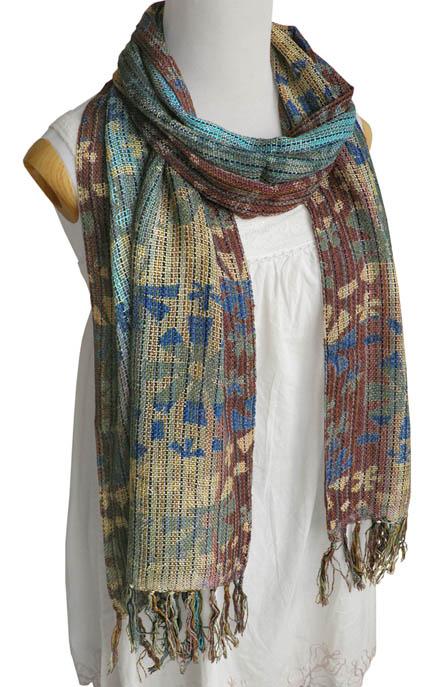 交ぜ織り花柄ロングスカーフ(ココア系)