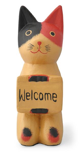 木彫りボード持ち猫(三毛)