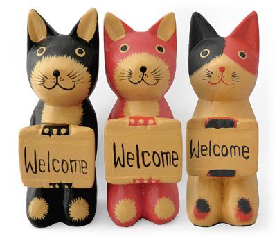 木彫りボード持ち猫 三種そろい踏み