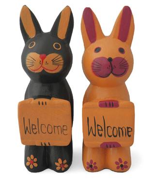 木彫りボード持ちウサギ 2種