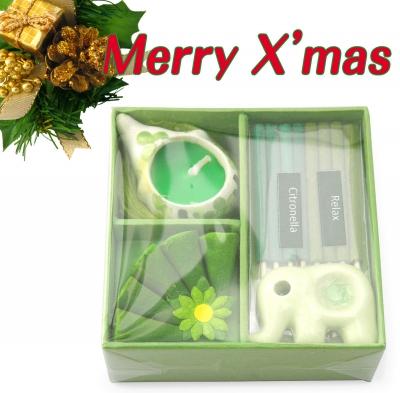 紙箱入りお香&キャンドルセット(緑)