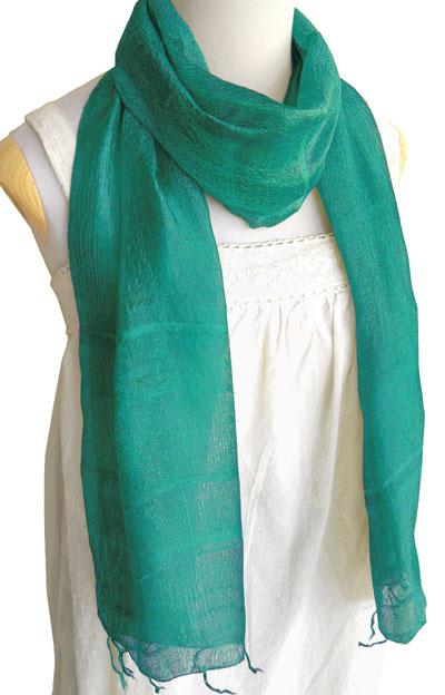 手紡ぎシルクスカーフ(エメラルド)