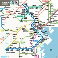 市営地下鉄のカラーユニバーサルデザイン案内図