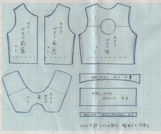 カカシ服型紙