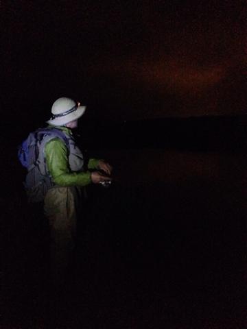 かなやま湖で夜釣り