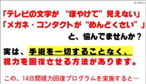 """14日間視力回復プログラム!川村博士の視力回復法""""ジニアスeye 川村明宏"""