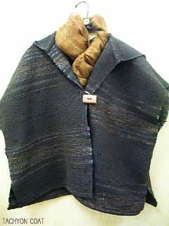 裂き織フード付きコート