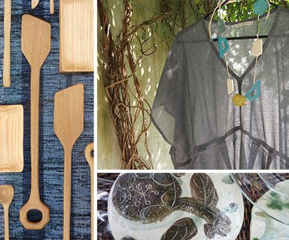 ギャラリータキオンコート 初夏展 木のスプーン 麻ワンピース 裂き織り