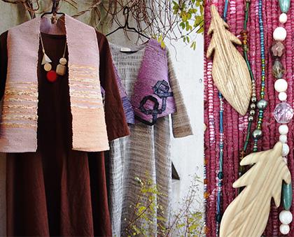 ギャラリータキオンコート 春展 裂織り 裂き織バック 木工