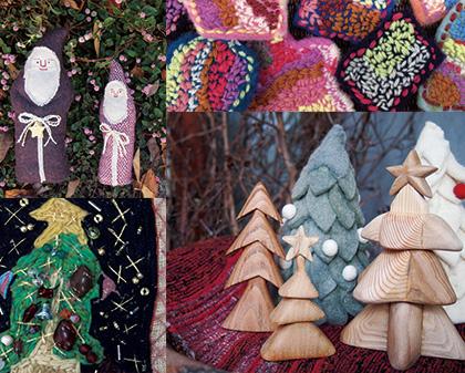 ギャラリータキオンコート冬展 裂織 木のクリスマスツリー フエルトのクリスマスツリー 刺し子