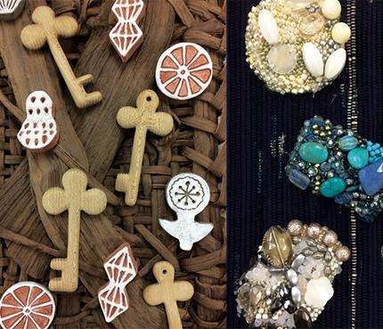 ギャラリータキオンコート 初夏展 裂織り 木工小物 ビーズブローチ