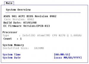 ASUS EeePC・Eee PC 901のBIOS画面1