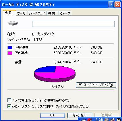 低価格 Asus Eee PC 701 SD-XのCドライブのプロパティ