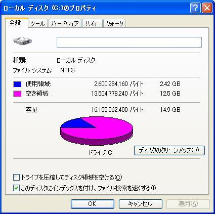 Windows XP Documents and Settings, Program File 移動 削除 Cドライブの容量変化2