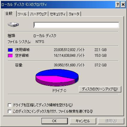 f2d ユーティリティ Windows XP Cドライブ 減量 ダイエットの実際、デスクトップでのテスト2