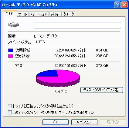 f2d ユーティリティ Windows XP Cドライブ 減量 ダイエットの実際、デスクトップでのテスト3