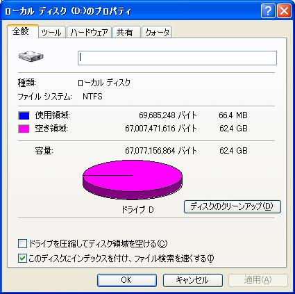 ASUS Eee PC S101H Dドライブのプロパティ
