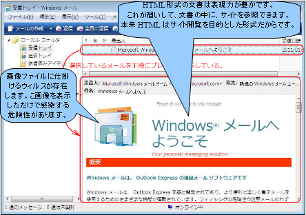 WindowsMail, Outlook Express 初期画面