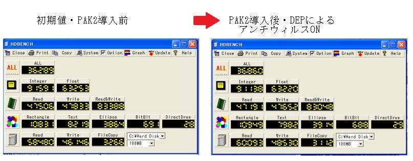 PAK2 DEP NXBit HDDBench ベンチマーク