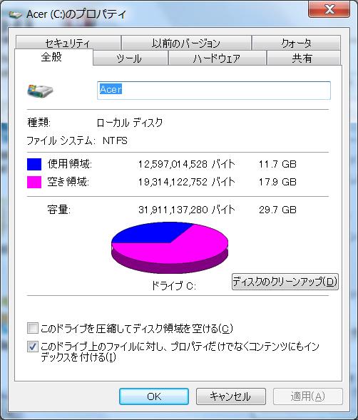 Acer ICONIA TAB W500 Cドライブ プロパティ