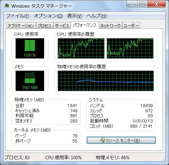 Acer ICONIA TAB W500 CPU負荷率