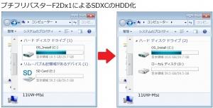110W SDXC 64GB ローカルディスク化 HDD化 ハードディスク化 TS64GSDXC10
