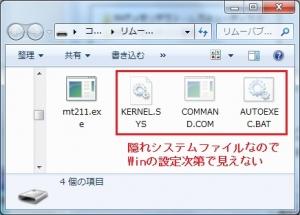 起動用フロッピーディスク 起動用 USB ディスク 内部構成
