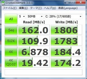 ASUS eee slate B121 CrystalDiskMark ベンチマーク 高速化 増設