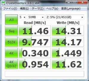 ZENBOOK UX21A 802.11g ベンチマーク CrystalDiskMark3