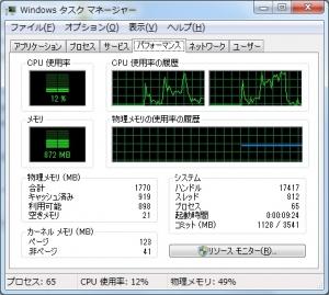 Acer Aspire One 722 AO722-CM303 評価 ベンチマーク 高速化 タスクマネージャ