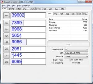 Acer Aspire One 722 AO722-CM303 評価 ベンチマーク 高速化 CrystalMark2004R3のベンチ