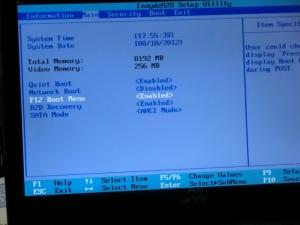 ディスク交換 ベンチマーク インテル 330 Series SSDSC2CT120A3K5 Acer Aspire One 722 AO722-CM303に換装 BIOS
