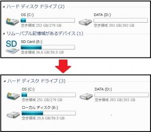 U24A 増設 SDカードのHDD化 SDXCカードのHDD化 USBメモリをハードディスクにする