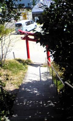 弁天山から鳥居を見下ろす