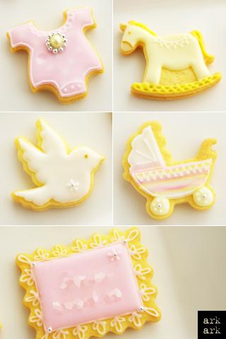 アイシングクッキー・ベビー ロンパース 木馬 はと ベビーカー メッセージクッキー