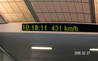 時速計:最高速度431kmの表示
