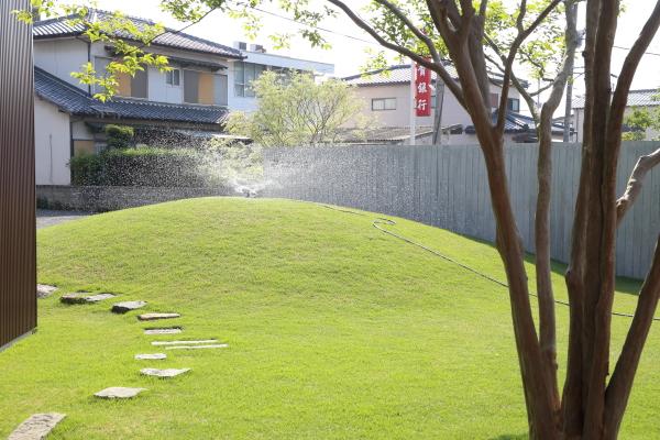 芝生で水遣り